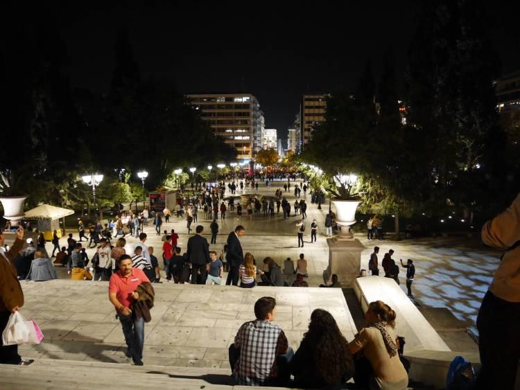 Athènes, Syntagma le soir