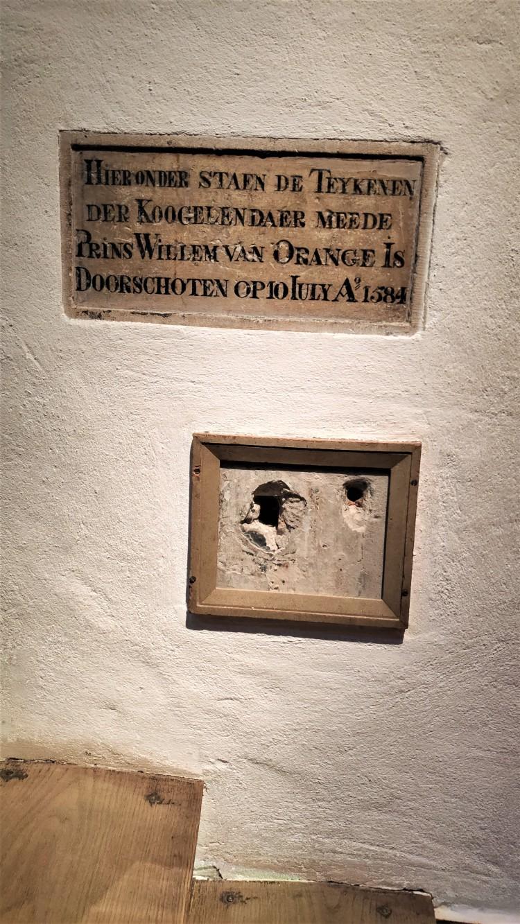 impact des balles assassinant Guillaume d'Orange, Musée Prinsenhof