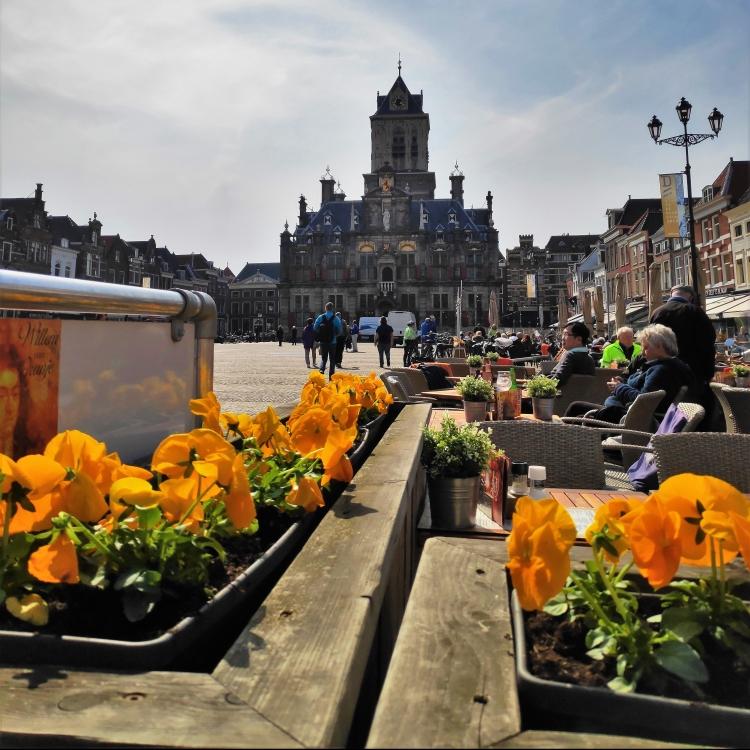 Vue sur Markt, la place centrale de Delft