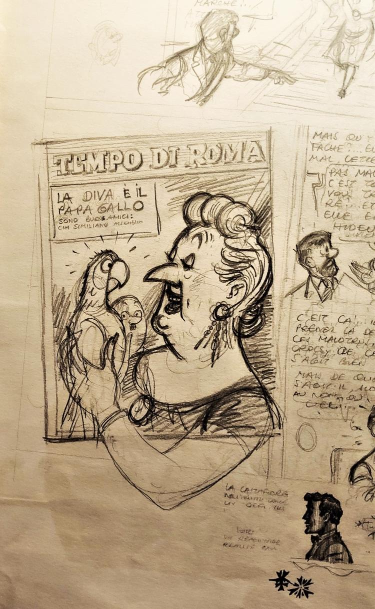 """Crayonné """"Les bijoux de la Castafiore"""" Musée Hergé."""