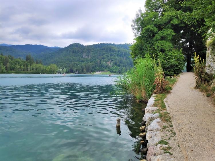 Sentier sur l'îlot du lac de Bled