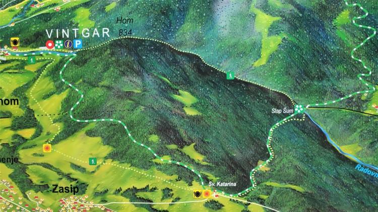 Carte de la visite de la Gorge de Vintgar