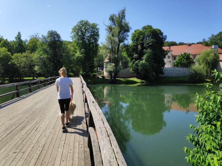 Pont de bois sur la Krka en Slovénie
